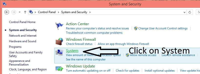 Click on system